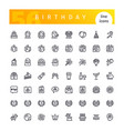 birthday line icons set vector image