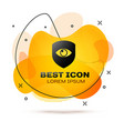black shield and eye icon isolated on white vector image