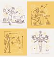business people - set of line design style vector image