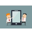 Cartoon businessmen with huge smartphone in flat vector image vector image