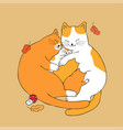 cartoon cute parents hug baby cat vector image