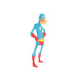 cheerful grandfather dressed in blue superhero vector image vector image