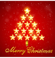 Christmas tree of gold shining stars vector image vector image