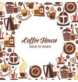 coffee poster of makers cups and grinders vector image vector image