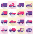collection of truck icons in flat style with long vector image vector image