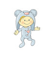 cute charming cartoon boy in a pajamas costume a vector image vector image