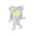 cute charming cartoon boy in a pajamas costume vector image vector image