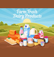 farm fresh dairy products natural cow milk vector image