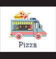 fast food trailer with burger pizza drink vector image vector image