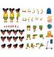 flat african student kid creation set vector image vector image