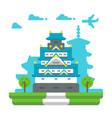 flat design osaka castle vector image vector image