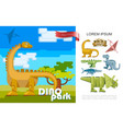 flat dino park colorful concept vector image
