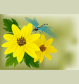 flowers and dragonfly vector image vector image