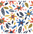 flowers and leaves hand drawn seamless pattern vector image vector image