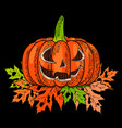 halloween 31 october a pumpkin with a carved vector image vector image