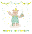 happy birthday and party card - babear vector image vector image