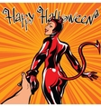 Happy Halloween devil girl follow me vector image