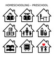 homeschooling - preschool icons set vector image vector image