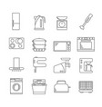kitchen appliances signs black thin line icon set vector image