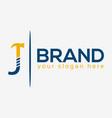 letter j hammer logo flat design vector image vector image