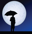man with umbrella on the moonlight vector image vector image