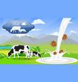 milk splash sandwich cookies and beautiful nature vector image