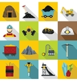 Miner icons set flat style vector image vector image