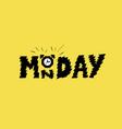 monday alarm clock on trendy yellow background vector image vector image