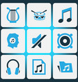 music colored icons set collection of drum mute vector image