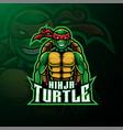 ninja turtle sport mascot logo design vector image
