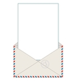 Open blank airmail envelope with rubber stamp vector image