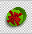 opened green empty gift box with red ribbon and vector image