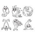 Outline set with seal in cartoon style vector image vector image