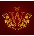 Patterned golden letter W monogram in vintage vector image vector image