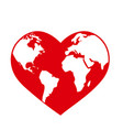 planet earth globe in shape a red heart vector image vector image
