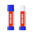 plastic tubes of glue stick open lid and closed vector image