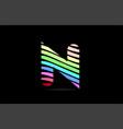 rainbow n alphabet letter stripes logo icon design vector image vector image