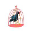 raven in birdcage magic object witchcraft vector image vector image