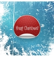 Realistic red circle Sticker with Snowflakes vector image