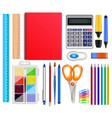 realistic school stationery set vector image vector image