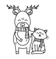 reindeer and cat with scarf celebration merry vector image vector image