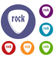 rock stone icons set vector image vector image