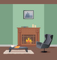 room with fireplace armchair and table vector image vector image