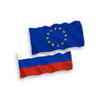 russian and european union flags vector image