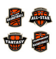 set basketball sports logos vector image vector image