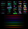 set glitch and neon elements collection of vector image