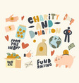 set icons fundraising volunteering charity vector image