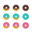 set of colored donuts in realistic style vector image
