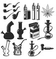 set of smoking equipment bongs vapes smoking vector image