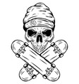 skull skater with hat and two crossed vector image